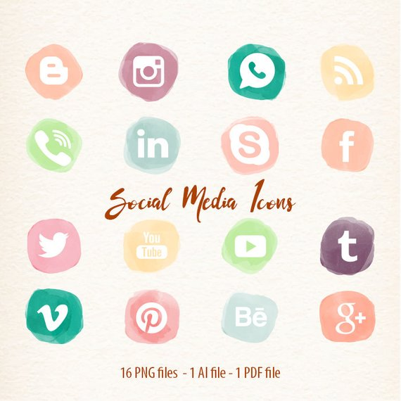 Clipart blogs svg freeuse stock Social Media Icons vector clipart for Blogs & Websites watercolor ... svg freeuse stock