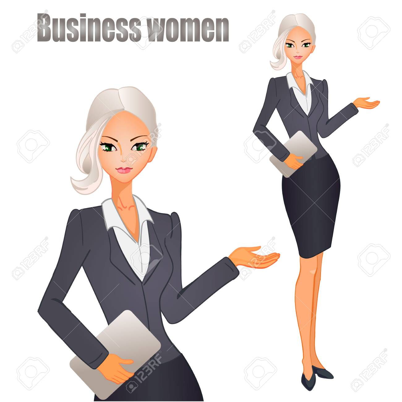 Business women clipart clip art black and white download Business women with blonde hair. VECTOR illustration. » Clipart Station clip art black and white download
