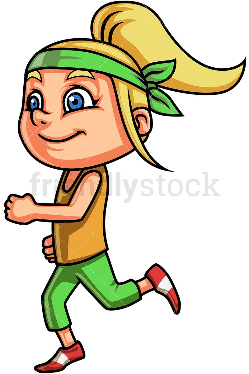 Clipart blonde girl green eyes full body svg free download Little Girl Running | Healthy Living in 2019 | Running cartoon, Girl ... svg free download