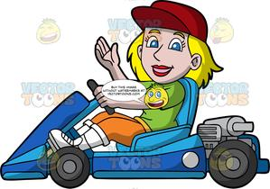 Clipart blonde girl green eyes wearing jeans picture freeuse download A Blonde Woman Driving A Blue Go-Kart picture freeuse download