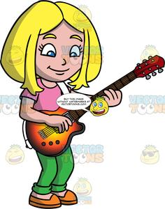 Clipart blonde girl green eyes wearing jeans clipart royalty free A Girl Learning How To An Play Electric Guitar clipart royalty free