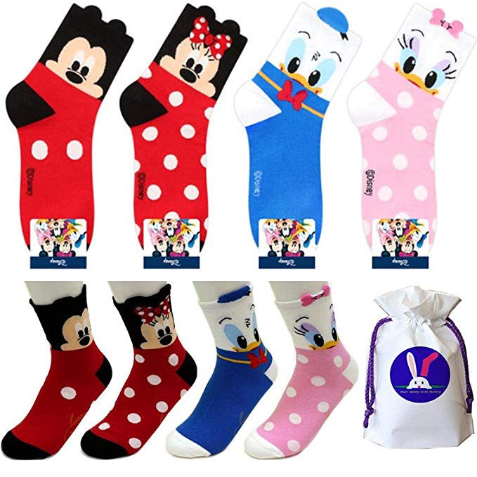 Clipart blue kid socks with minnie mouse png royalty free Amazon.com: Disney Character Crew Socks with Pouch Pack of 4 pairs ... png royalty free