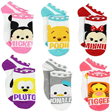 Clipart blue kid socks with minnie mouse image black and white download Tsum Tsum Girls Womens 6 pack Socks (Big Kid/Teen/Adult) image black and white download