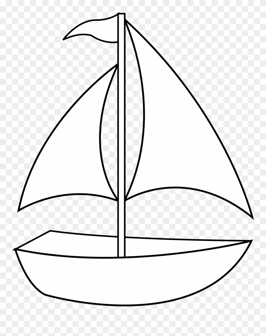 Clipart boat black and white png freeuse stock Colorable Sailboat Line Art Free Clip Painting - Fishing Boat Black ... png freeuse stock