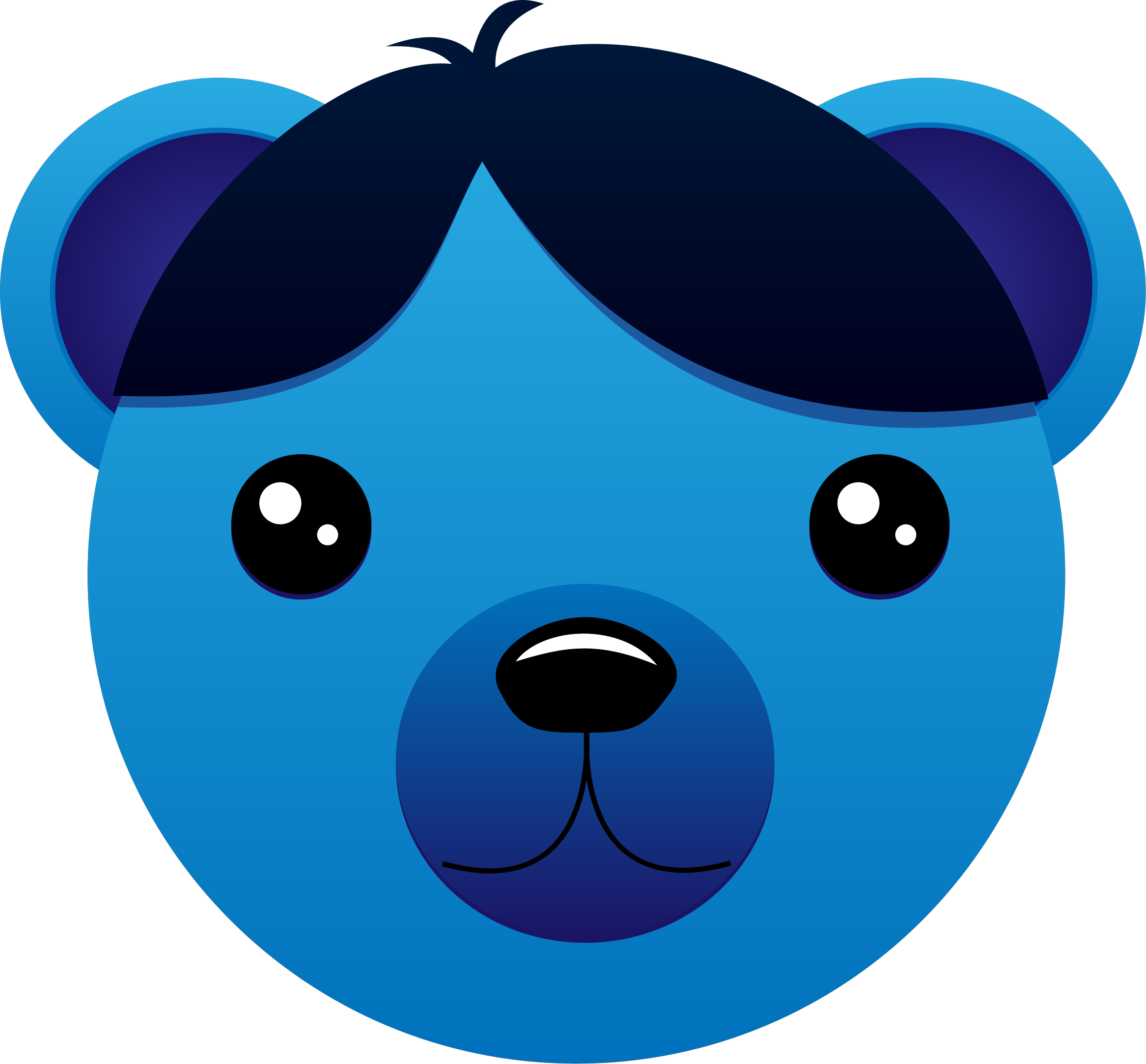Clipart book blue free library Clipart - Blue Bear with parted hair free library