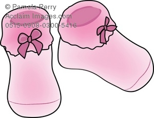 Clipart of a pair of baby booties png royalty free stock Clip Art Illustration of Pink Knitted Baby Booties png royalty free stock