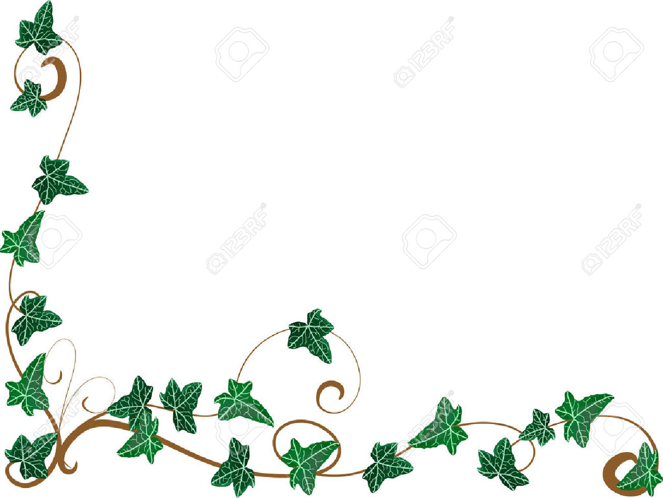Scroll frames clipart border with watercolor ivy
