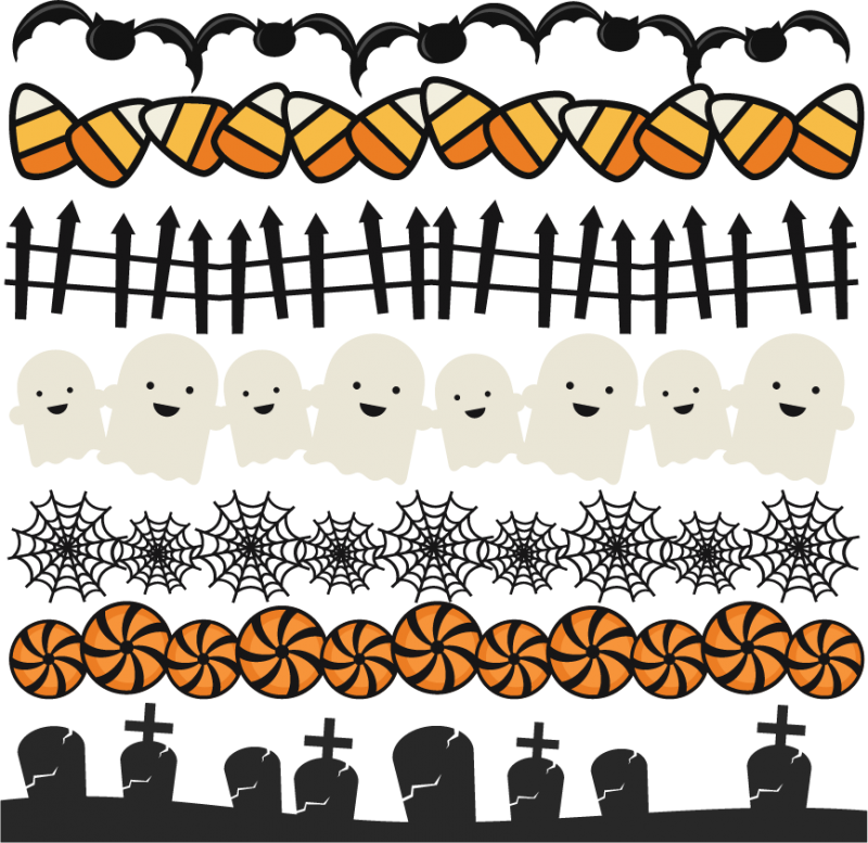 Clipart borders halloween png stock Halloween Borders Set SVG scrapbook title spiderweb svg cut file ... png stock