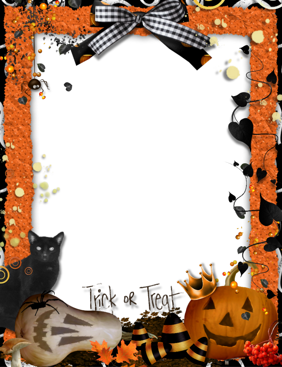 Free halloween frame clipart clip black and white stock halloween frames and borders | Trick-or-Treat ... clip black and white stock