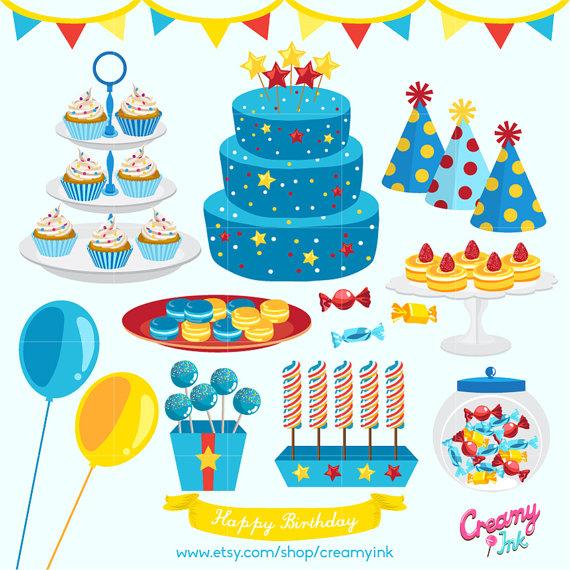 Clipart boy birthday cupcake jpg royalty free stock Boys Birthday Party Digital Vector Clip art/ Baby Boy Cakes Digital ... jpg royalty free stock