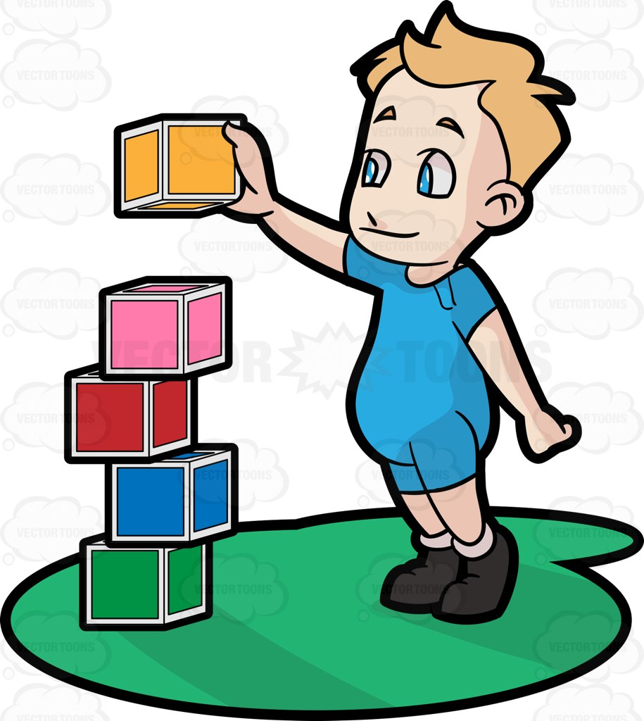 Clipart boy building blocks. A male toddler cartoon