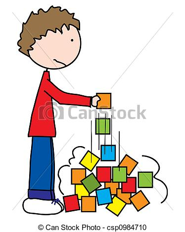Stock illustration of oh. Clipart boy building blocks