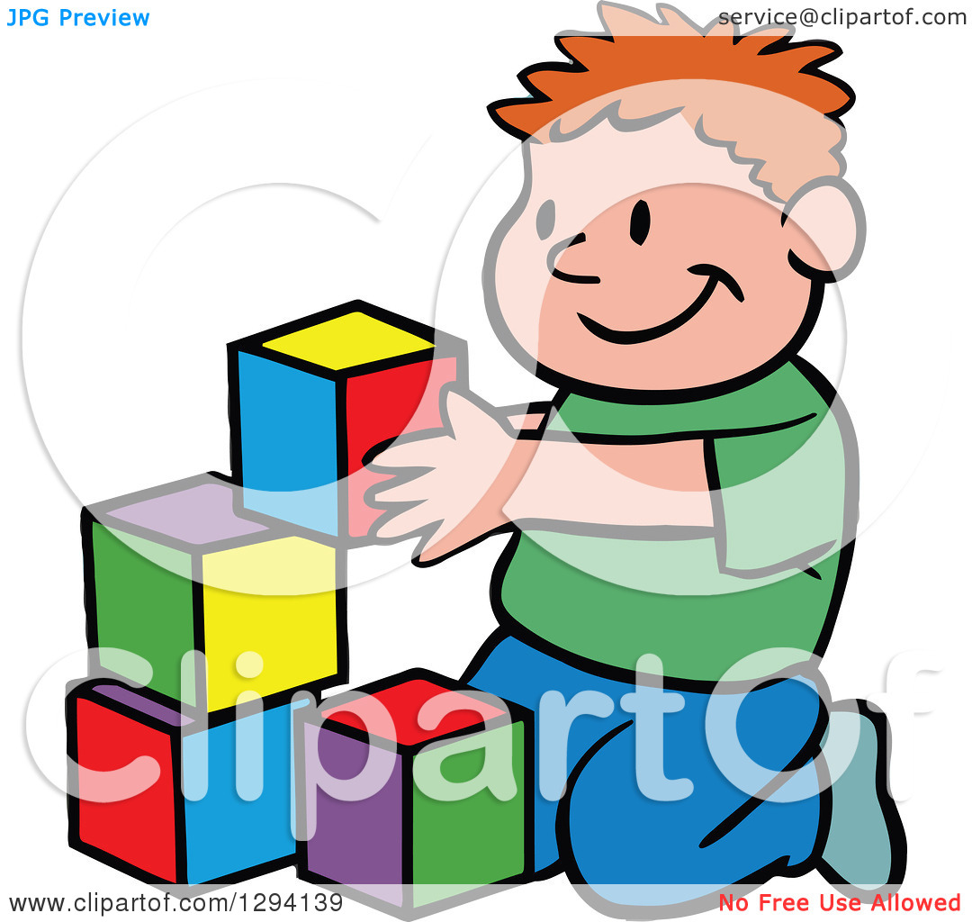 Of a cartoon happy. Clipart boy building blocks