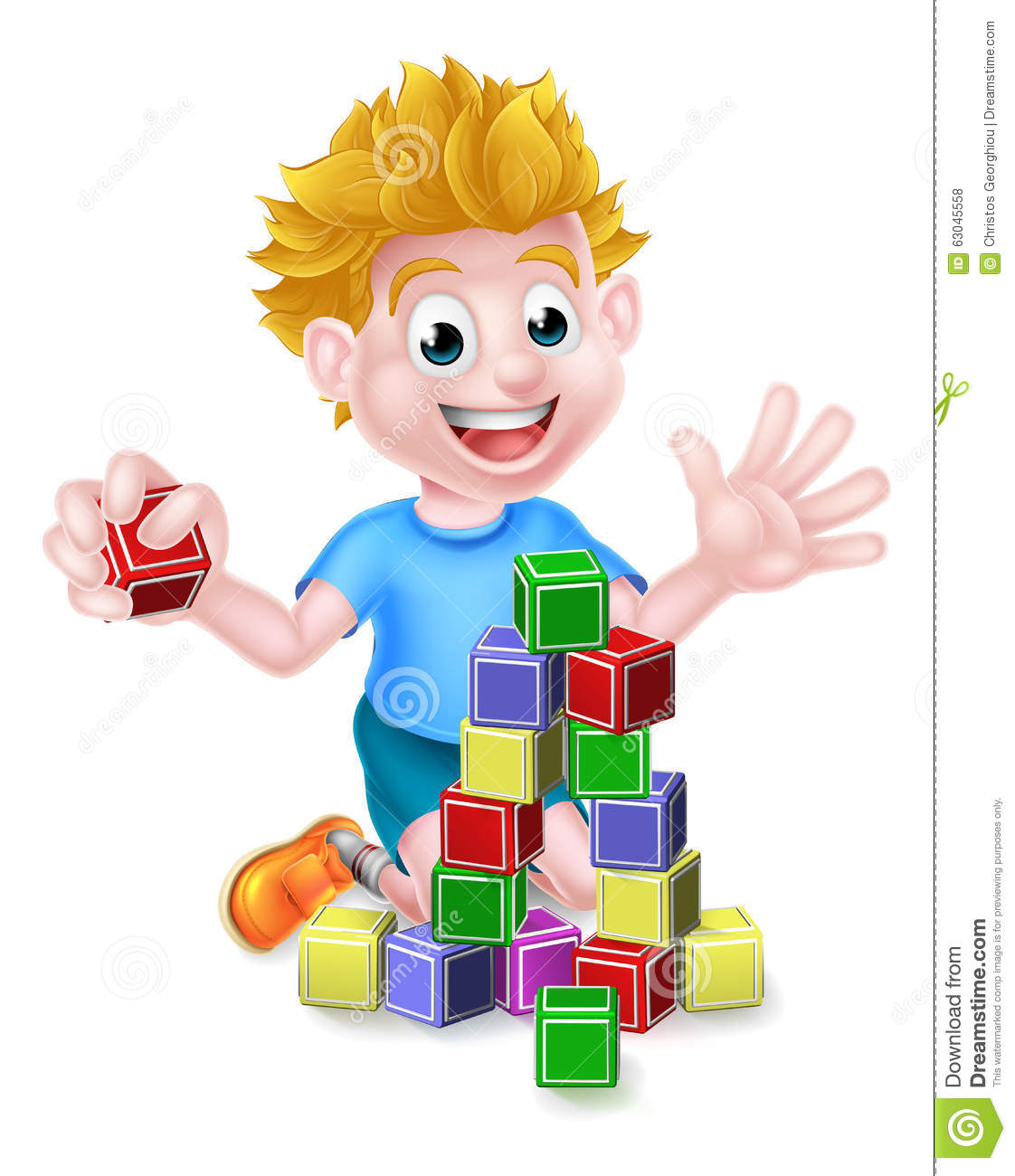 Clipart boy building blocks. Cartoon playing with stock