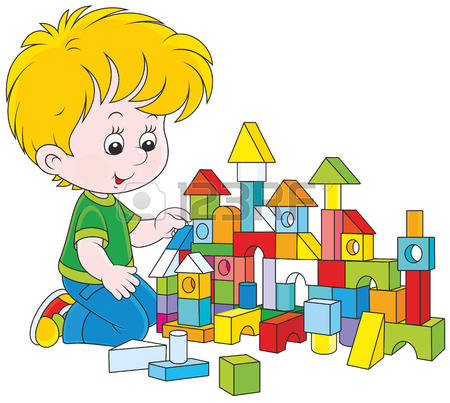 Clipart boy building blocks.  stock illustrations cliparts