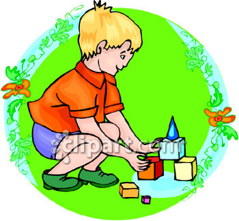 Young playing with colorful. Clipart boy building blocks