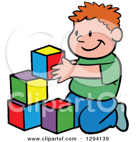 Clipart boy building blocks. Royalty free rf of