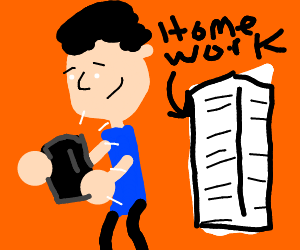 Clipart boy playing video games over homework vector stock Person playing games next to a stack of books - Drawception vector stock