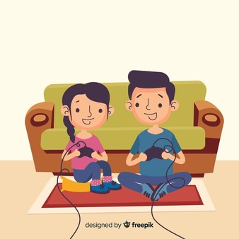 Clipart boy playing video games over homework graphic library stock Hand drawn people playing videogames illustration Vector | Free Download graphic library stock
