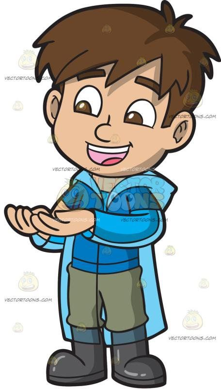 Clipart boy putting on pants freeuse stock A Handsome Boy Wearing A Raincoat : A boy with brown hair wearing a ... freeuse stock
