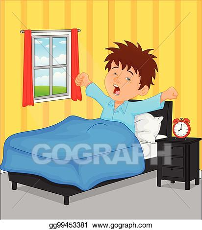 Clipart boy waking up svg royalty free download Vector Art - Little boy wake up in the morning. Clipart Drawing ... svg royalty free download