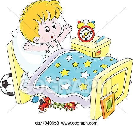 Waking up in bed clipart jpg transparent download Vector Stock - Boy waking up. Clipart Illustration gg77940658 - GoGraph jpg transparent download
