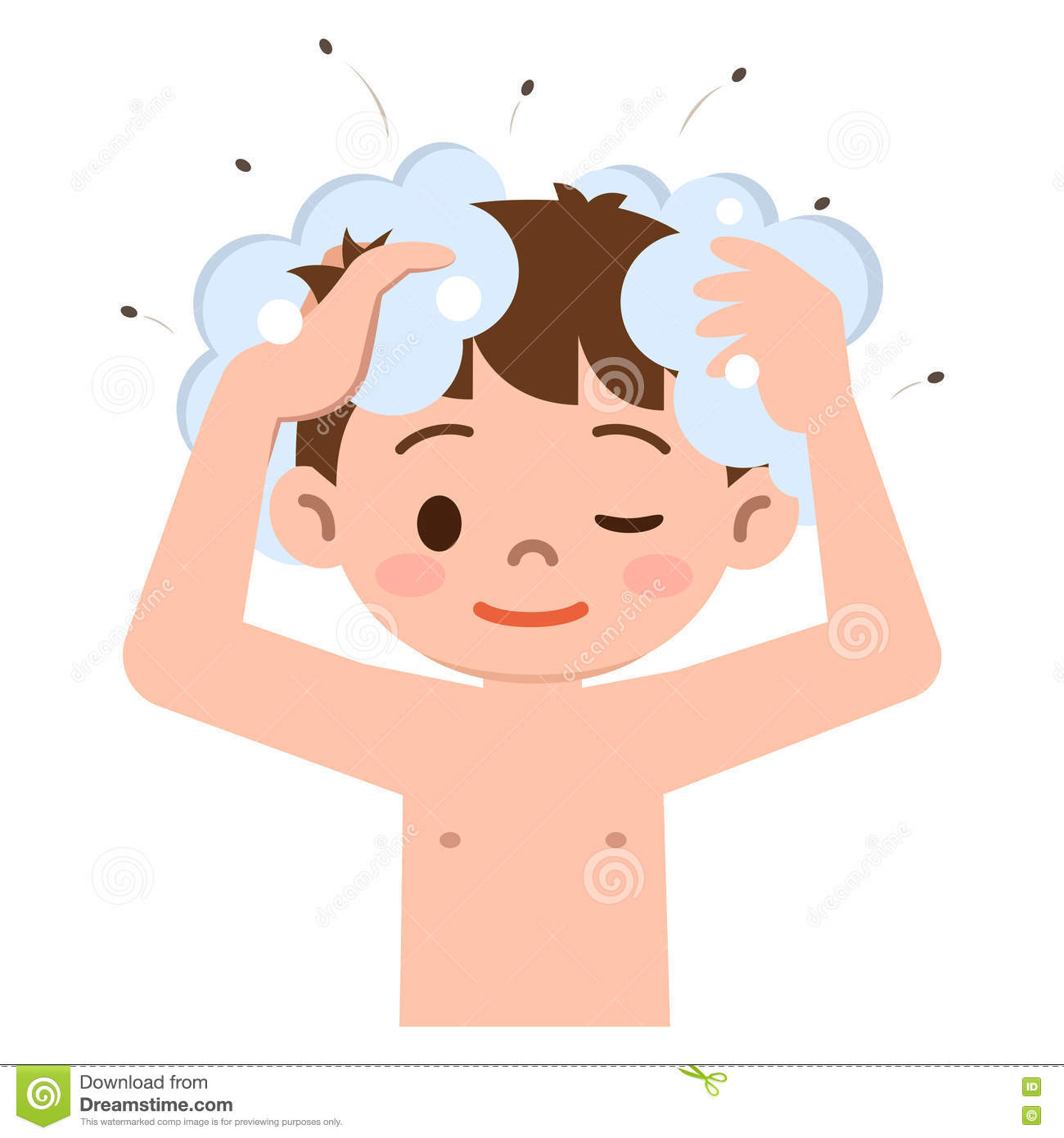 Clipart boy washing hair. Head lice kid stock
