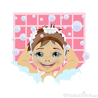 Clipart boy washing hair. Cute little kid in