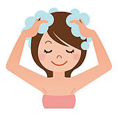 Clipart boy washing hair. Animated your kid stock