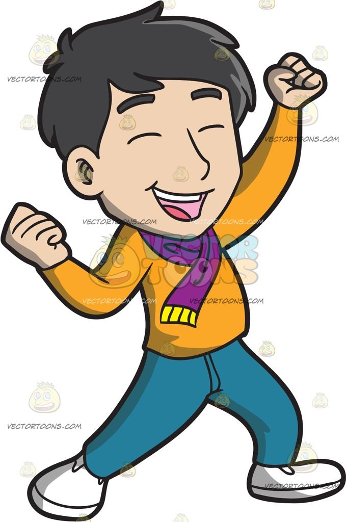 Clipart boy with black hair and green eyes jpg black and white An Asian Man Celebrating In Delight : A Chinese guy with black hair ... jpg black and white