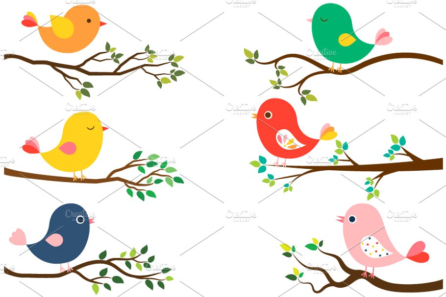 Clipart branches black and white stock Cute birds and tree branches clipart black and white stock