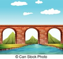 Vector of the metal. Clipart bridge over river