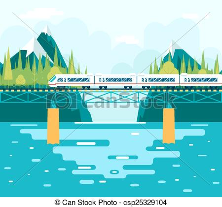 Clipart bridge over river jpg download Vector Clipart of Wagons on Bridge over River Tourism and Journey ... jpg download