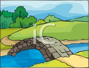 Clipart bridge over river. Clipartfest stone a creek