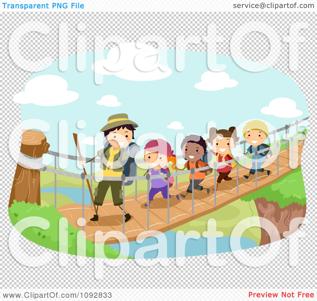 Clipart bridge over river jpg download Clipart Summer Camp Group Crossing A Foot Bridge Over A River ... jpg download