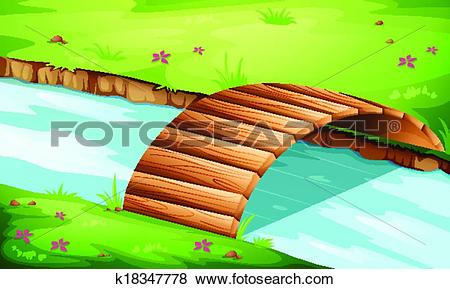 Clipart bridge over river. Clip art of a