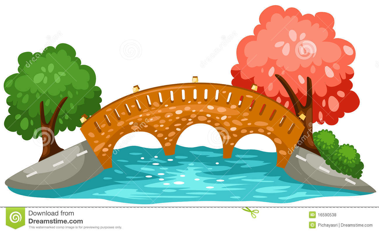 Cartoon kid bank background. Clipart bridge over river