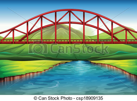 Clipart bridge over river. Vectors of a above