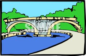 Clipart bridge over river. Clipartfest aqueduct a stream