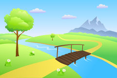 Forest sand coast stock. Clipart bridge over river