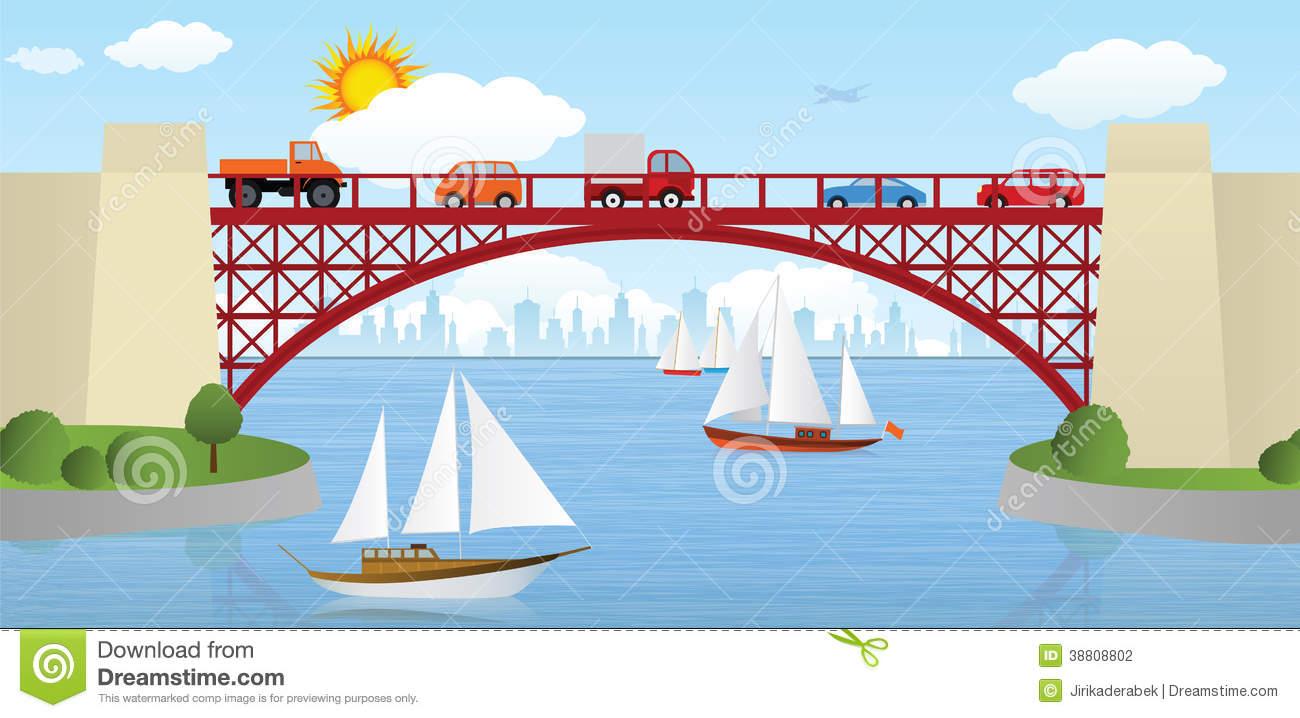 Clipart bridge over river clipart free stock Clipart bridge over river - ClipartFest clipart free stock