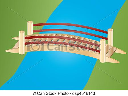 Clipart bridge over river. Illustrations and clip art