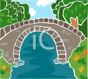 Clipart bridge over river. Stone a clip art