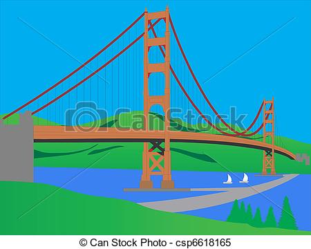 Vector of this is. Clipart bridge over river
