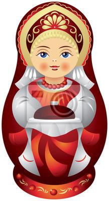 Clipart brot und salz png download Fototapete matrjoschka-puppe mit dem brot und salz - Matroschka ... png download