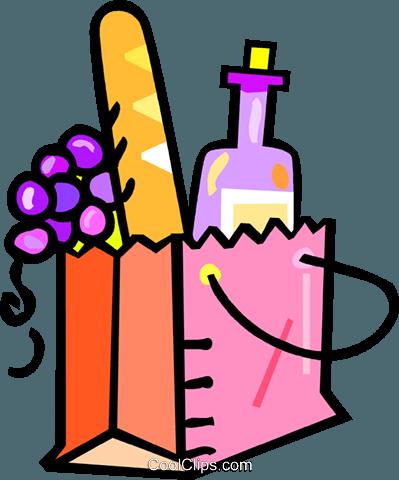 Clipart brot und wein clip free library Tasche mit Wein, Brot und Trauben in ihr Vektor Clipart Bild ... clip free library