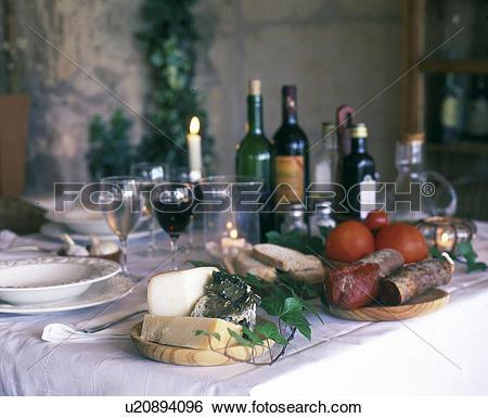 Clipart brot und wein svg free stock Stock Images of Mediterranes Büfett mit Brot, Käse, Wurst und Wein ... svg free stock