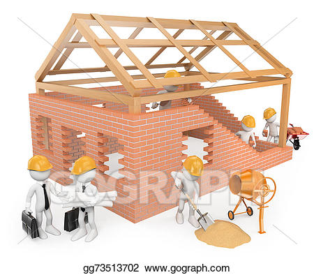 Clipart building house graphic freeuse library Stock Illustration - 3d white people. construction workers building ... graphic freeuse library