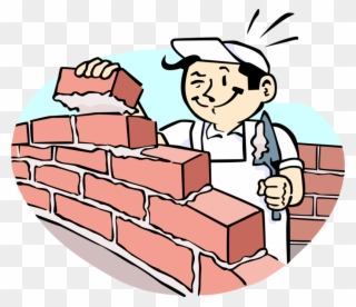 Clipart building house png royalty free download Vector Illustration Of Mason Bricklayer Builds Masonry - Cartoon ... png royalty free download