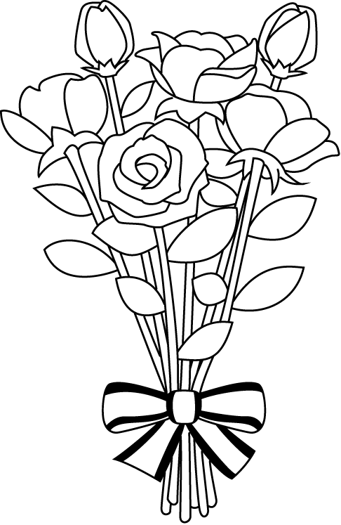 Wedding flower bouquet clipart black and white